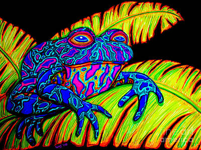 Animals Drawings - Tropical Frog by Nick Gustafson