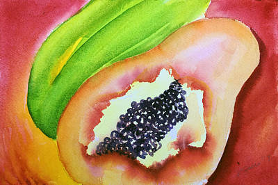 Painting - Tropical Fruit Series Papaya by Kathy Sturr