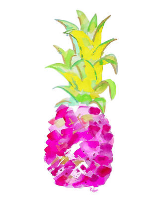 Pineapple Wall Art - Painting - Tropical Fuchsia And Gold by Roleen Senic