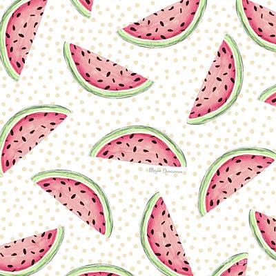 Modern Style Mixed Media - Tropical Fusion 18 Watermelon Pattern Summer Art By Megan Duncanson  by Megan Duncanson