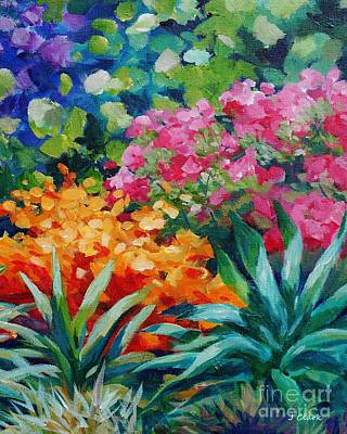 Florida Flowers Painting - Tropical Garden 20x16 by John Clark