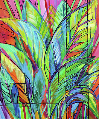 Tropical Colors Stain Glass Painting - Tropical Glass Study by Judi Krew