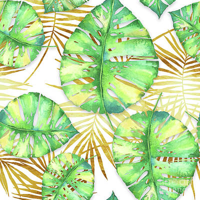 Tropical Haze Blanche Variegated Monstera Leaves, Golden Palm Fronds On Black Art Print by Tina Lavoie