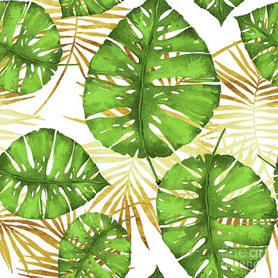 Tropical Haze Green Monstera Leaves And Golden Palm Fronds Art Print by Tina Lavoie