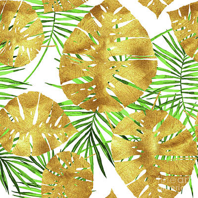 Tropical Haze II Gold Monstera Leaves And Green Palm Fronds Art Print by Tina Lavoie