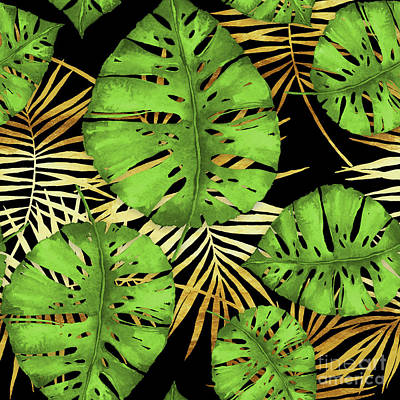Tropical Haze Noir Green Monstera Leaves, Golden Palm Fronds On Black Art Print