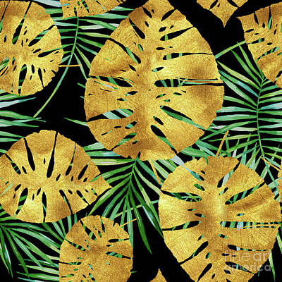 Painted Palm Frond Digital Art - Tropical Haze Noir II Gold Monstera Leaves, Green Palm Fronds by Tina Lavoie
