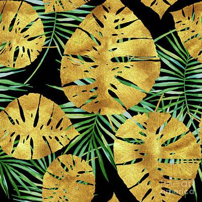 Tropical Haze Noir II Gold Monstera Leaves, Green Palm Fronds Art Print