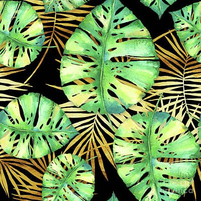 Tropical Haze Noir Variegated Monstera Leaves, Golden Palm Fronds On Black Art Print by Tina Lavoie