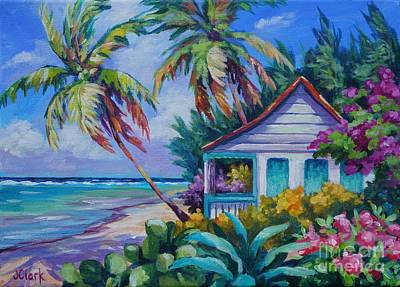 Caribbean Painting - Tropical Island Cottage by John Clark