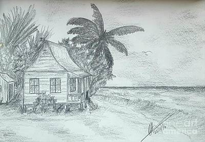 Beach Landscape Drawing - Tropical Island Sea by Collin A Clarke