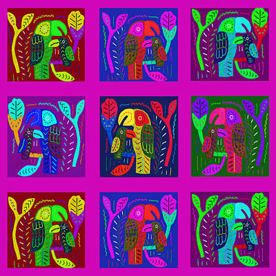 Digital Art - Tropical Jungle Parrots by Vagabond Folk Art - Virginia Vivier