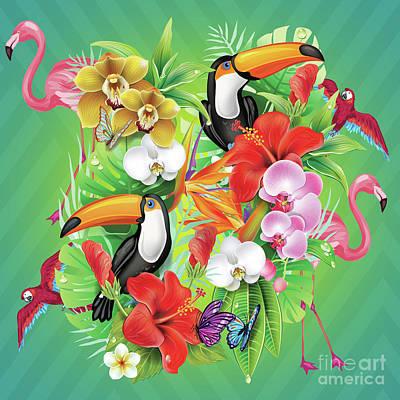 Geometric Animal Digital Art - Tropical  Karnaval by Mark Ashkenazi