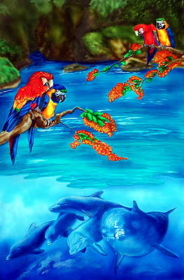 Dolphin Painting - Tropical Lagoon by Kathleen Kelly Thompson