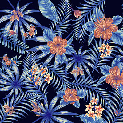 Tropical Digital Art - Tropical Leaf Pattern 4 by Stanley Wong