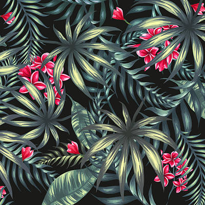 Tropical Digital Art - Tropical Leaf Pattern  by Stanley Wong