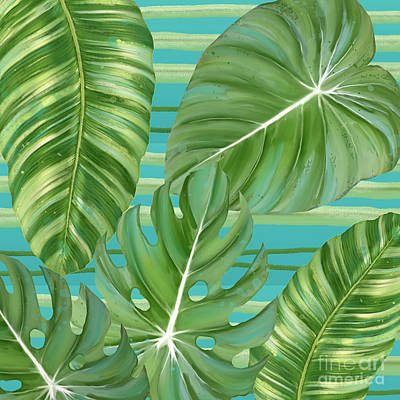 Tropical Leaf Striped Pattern Teal Turquoise Green Art Print