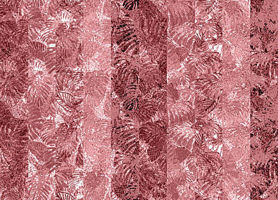 Digital Art - Tropical Leaf Stripes Dusty Cedar by Karen Dyson