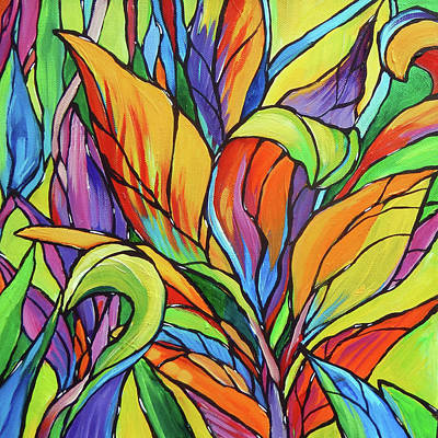 Tropical Colors Stain Glass Painting - Tropical Leaves 3 by Judi Krew