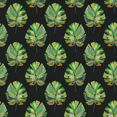 Tropical Leaves On Black- Art By Linda Woods Art Print