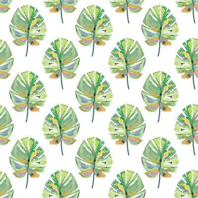Tropical Leaves On White- Art By Linda Woods Art Print by Linda Woods