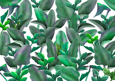 Digital Art - Tropical Leaves Pattern by Three Second