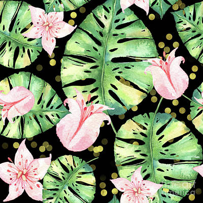 Tropical Monstera And Pink Tulip Pattern Art Print by Tina Lavoie