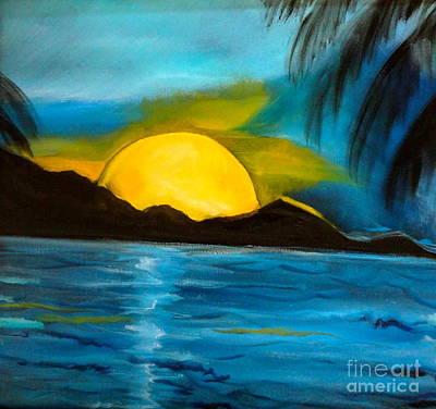 Tropical Moonshine Art Print by Jenny Lee