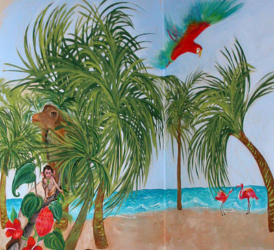 Flamingo paintings for sale page 20 of 46 for American tropical mural