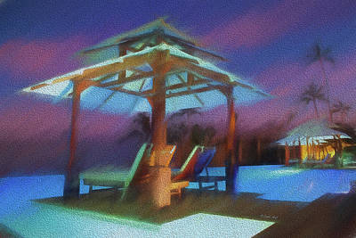 Painting - Tropical  Nightscape by OLena Art Brand