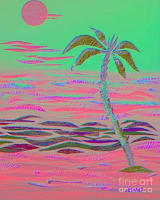 Mixed Media - Hot Pink Coconut Palm by Jean Clarke