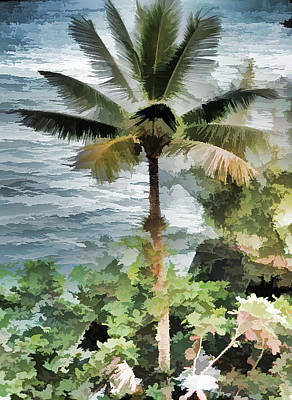 Mixed Media - Tropical Palm Tree by Pamela Walton
