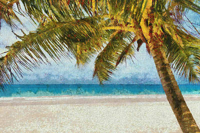 Trees Painting - Tropical Palm Tree Sand Beach Art Painting by Wall Art Prints