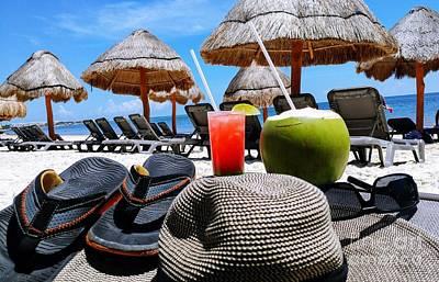Photograph - Tropical Paradise Sun, Sand, Beach And Drinks. by Akshay Thaker-PhotOvation