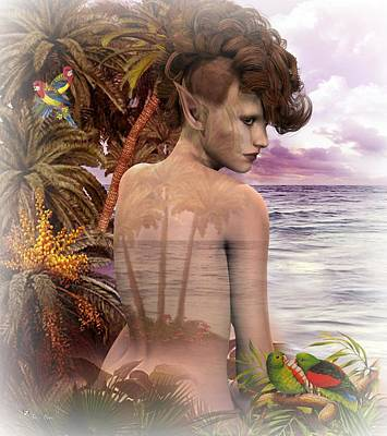 Digital Art - Tropical Pixie by Ali Oppy