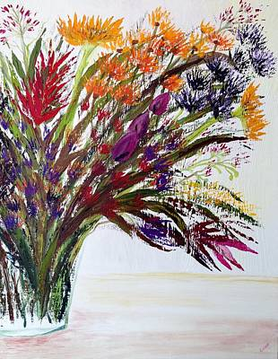 With Pallet Knife Painting - Tropical Posy Flowers by Eliane Ellie