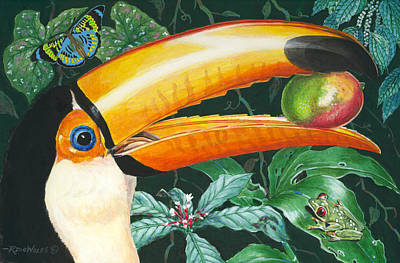 Toucan Painting - Tropical Rain Forest Toucan by Richard De Wolfe