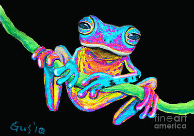 Tropical Rainbow Frog On A Vine Art Print by Nick Gustafson