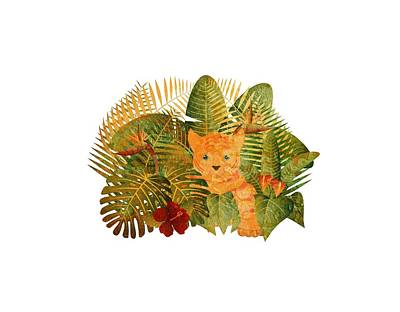 Digital Art - Tropical Rainforest  Jungle Tiger Cub Grunge Illustration by Jit Lim