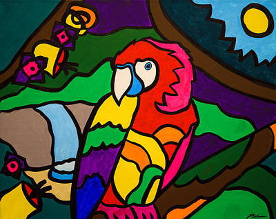 Amazon Parrot Painting - Tropical Rainforest by Patrick Cohen