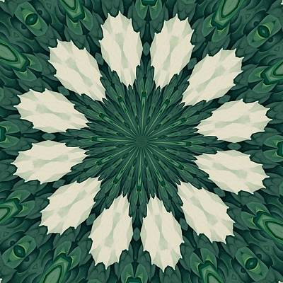 Digital Art - Tropical Sacramento Green And Silver Leaf Mandala by Tracey Harrington-Simpson