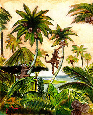 Johnkeaton Painting - Tropical Scene by John Keaton