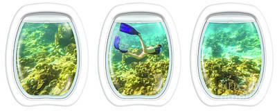 Photograph - tropical sea Porthole windows by Benny Marty