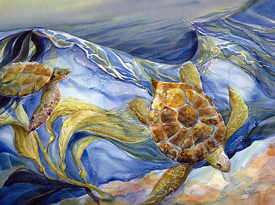 Reptiles Paintings - Tropical Sea Turtle in Surf by Jen Norton