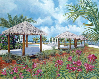 Tiki Painting - Tropical Shelter by Danielle  Perry