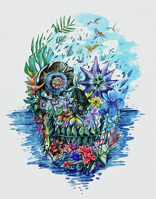 Tropical Skull 2 Art Print