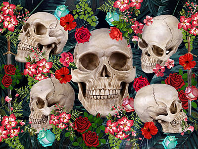 Tropical Skull  Art Print by Mark Ashkenazi