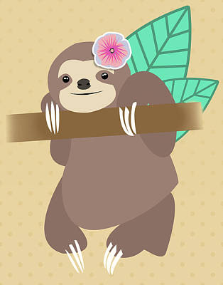 Lazy Digital Art - Tropical Sloth Illustration by Pati Photography