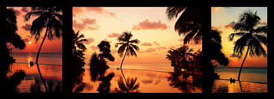 Photograph - Tropical Sunset 2. Triptych by Jenny Rainbow