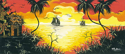 Herold Alvares Painting - Tropical Sunset by Herold Alvares